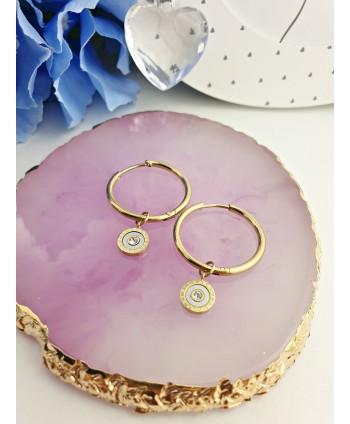 Kolczyki stal złote koła z okrągłą zawieszką
