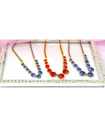 Naszyjnik ze stopniowanymi kryształkami w złocie kolory do wyboru