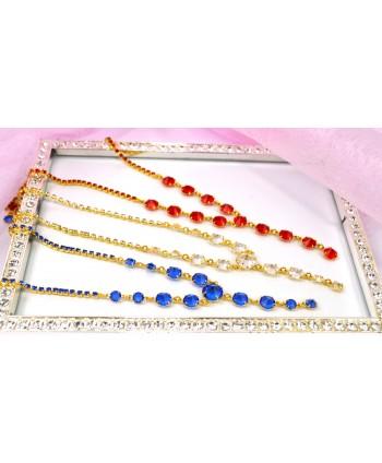 Naszyjnik z kryształkami w złocie ze zwisem różne kolory