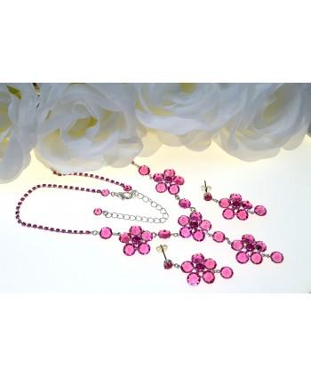 Komplet różowe kryształki w srebrnej oprawie