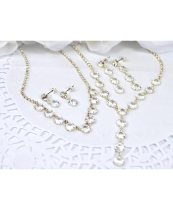 Komplet z przeźroczystymi kryształkami w srebrze-  różne modele