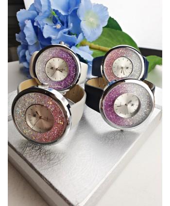Zegarek na szerokim pasku z diamentową tarczą- kolory do wyboru
