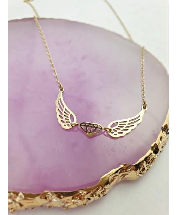 Naszyjnik stal złoty diamencik ze skrzydełkami