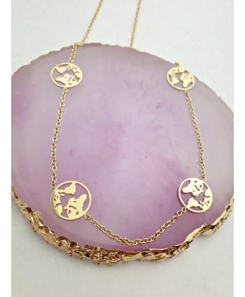 Naszyjnik stal złoty z kulą ziemską