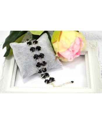 Bransoletka podwójna czarne bardzo duże kryształki w srebrnej oprawie