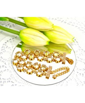 Bransoletka podwójna przezroczyste bardzo duże kryształki w złotej oprawie