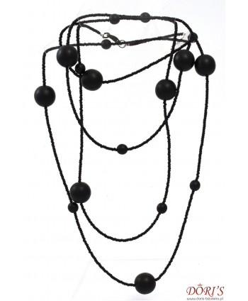 Korale długie czarne czeska biżuteria