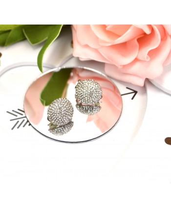 Klipsy okrągłe srebrne wysadzane cyrkoniami