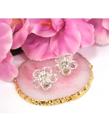 Klipsy srebrne kwiatuszki z kryształkami